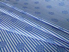 Ткань коттон стрейчевый рубашечный штурвал, голубой