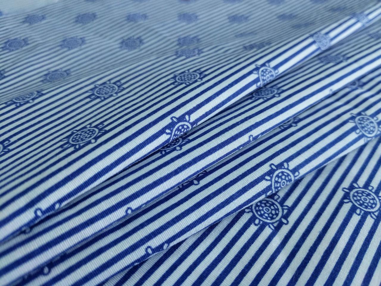 Коттон стрейчевый рубашечный штурвал, синий