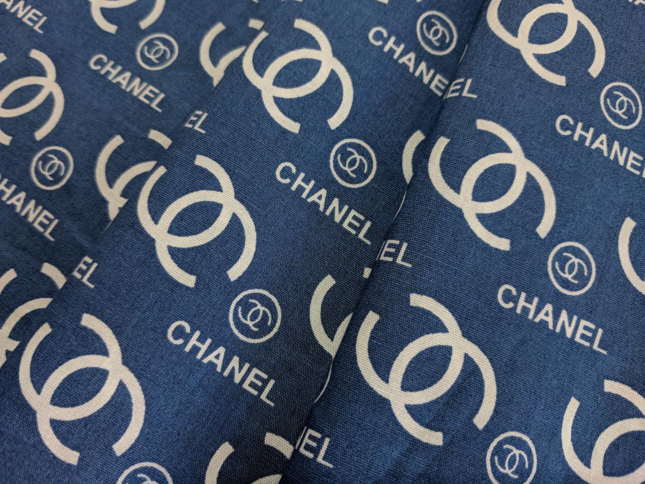 Коттон стрейчевый рубашечный шанель, джинсовый темный