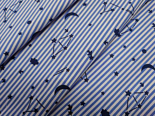 Ткань коттон стрейчевый рубашечный созвездие, голубой