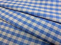 Ткань коттон стрейчевый рубашечный клеточка виши, голубой