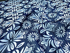 Ткань шифон рисунок цветочный орнамент, темно-синий