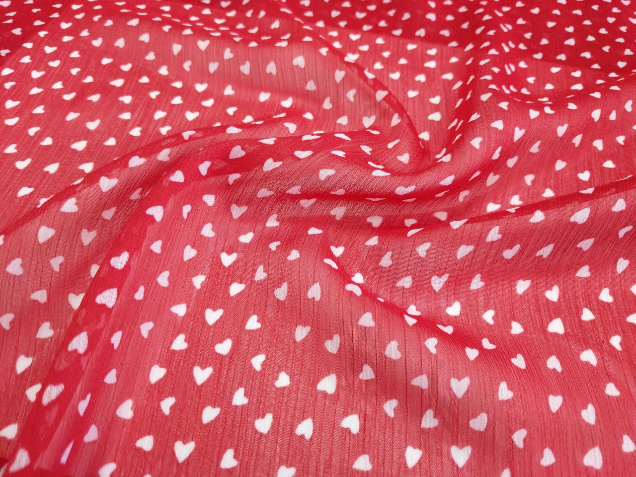 Шифон рисунок сердечки, красный