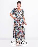 Женское платье в пол летнее, ткань штапель. Размер 50, 52, 54, 56, фото 1