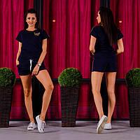 Женский летний спортивный костюм 1006 (S M L XL) (цвет т.синий) СП