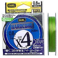 Шнур DUEL Hardcore X4 200m #0.8  6,4kg (0.153mm)