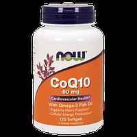 Коензим з комплексом незамінних кислот NOW CoQ10 60 mg with Omega 3 (120 кап) (102775) Фірмовий товар!