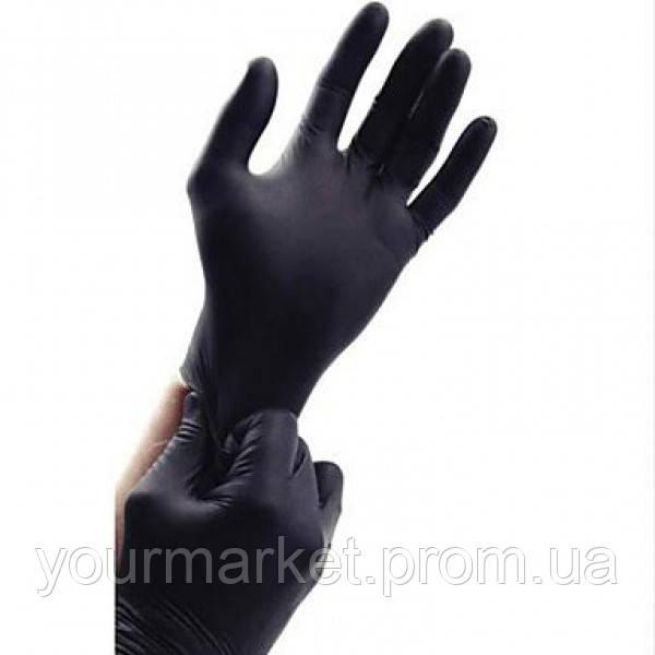 Перчатки нитриловые неопудренные (M) черные 100шт./уп. 71088 ПМ