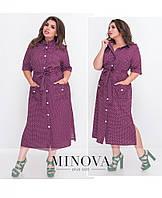 Женское стильное платье на пуговицах. Размер 50, 52, 54, 56. В наличии 2 цвета, фото 1