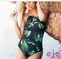 Слитный женский купальник на шнуровке сзади с принтом листьев