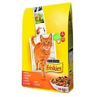 Сухой корм для кошек Friskies (ФРИСКИС) с курицей, печенью и овощами 10КГ