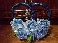 """Кольца для свадебной машины """"Розы"""" (голубые)"""