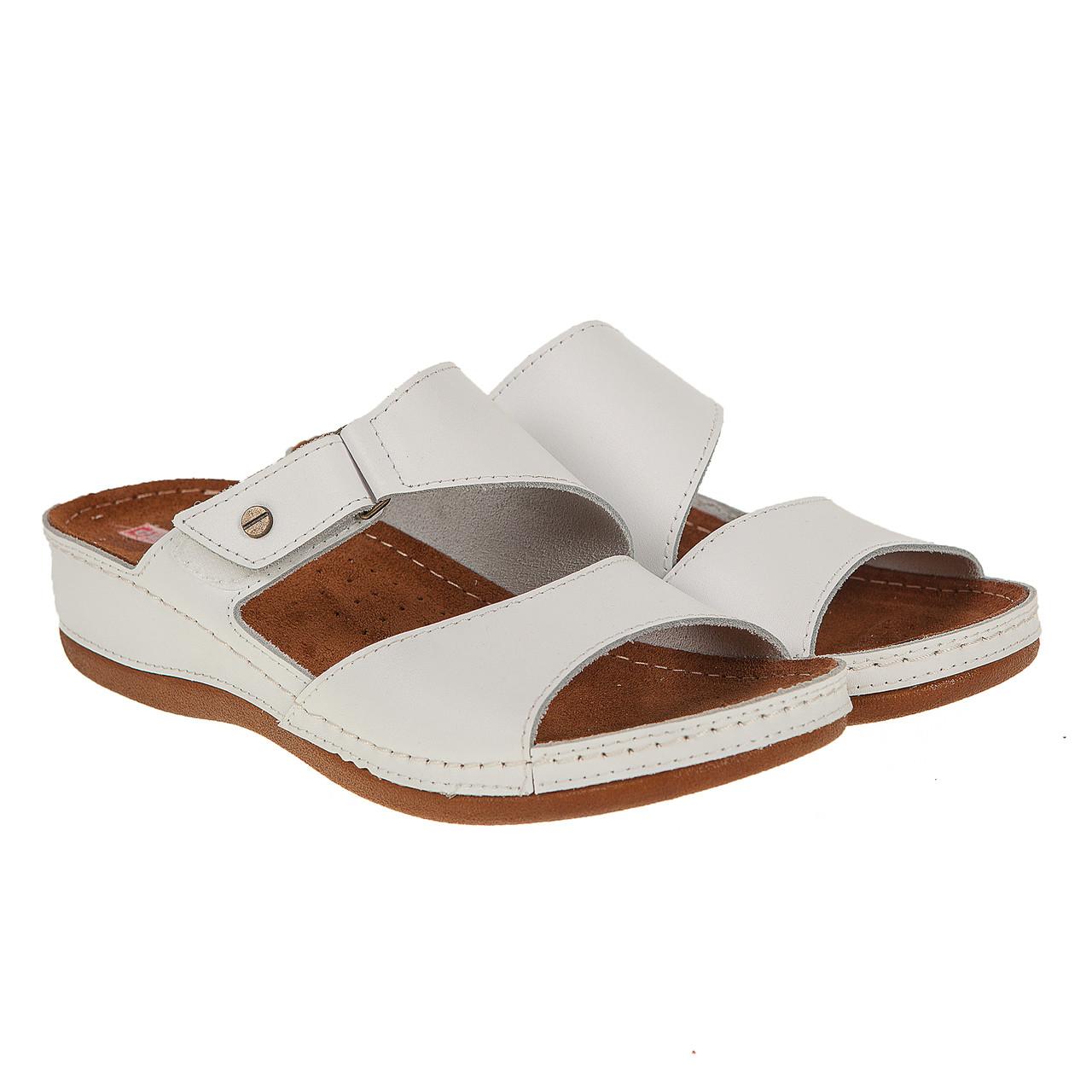 32b7d1a57 Шлепанцы женские Syrena (кожаные, белого цвета, удобные, модные,  качественные)