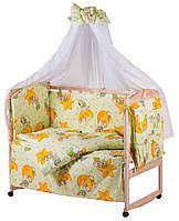 Детский постельный комплект белья Qvatro Gold RG-08, салатовая (мишки спят, месяц)