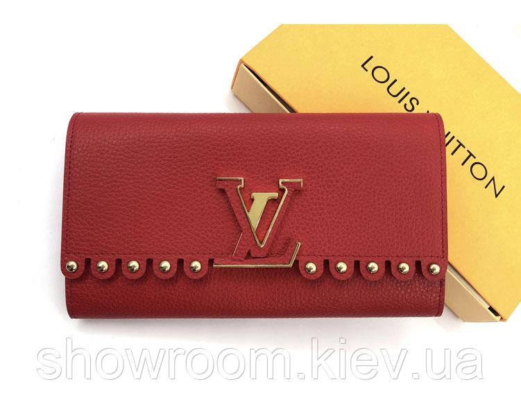 Женский кожаный кошелек в стиле Louis Vuitton (64102) red