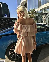 Легкое платье шелковое полуприталенное с воланами рукав короткий цвет капучино, фото 3