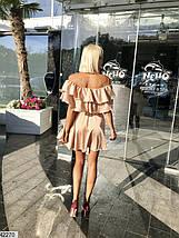 Легкое платье шелковое полуприталенное с воланами рукав короткий цвет капучино, фото 2