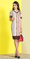 Платье Lissana-3377 белорусский трикотаж, кофейные тона с белым, 50