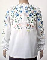 Сорочка для дівчинки вишита гладдю сині квіти на гілочках Батист dbc53d2392e4c
