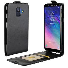 Чехол книжка для Samsung Galaxy A6 2018 A600 вертикальный флип, Гладкая кожа, черный