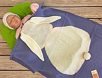 """Вязаный детский плед в кроватку  """"Зайчик"""" васильковый, фото 1"""