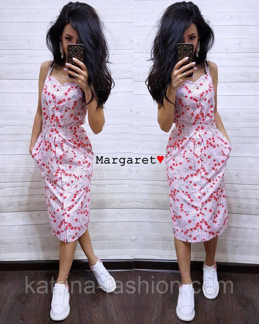 Женское летнее платье в полоску с цветами (2 цвета)