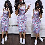 Женское летнее платье в полоску с цветами (2 цвета), фото 4