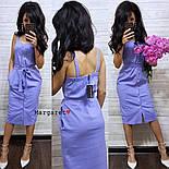 Женское повседневное однотонное льняное платье (3 цвета), фото 3