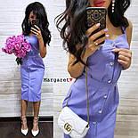Женское повседневное однотонное льняное платье (3 цвета), фото 4
