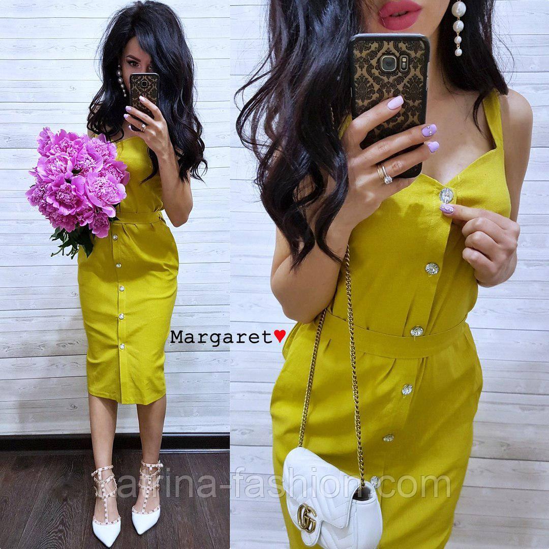 Женское повседневное однотонное льняное платье (3 цвета)