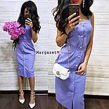 Женское повседневное однотонное льняное платье (3 цвета), фото 8