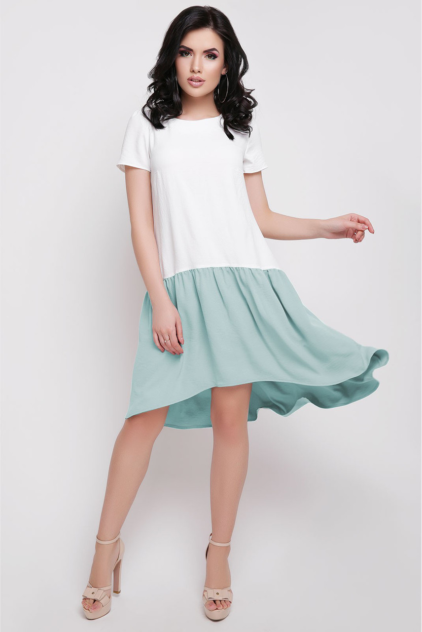 63ca54e91be Легкое платье прямого кроя с воланом асимметричное трикотаж рукав короткий  молоко и голубой -