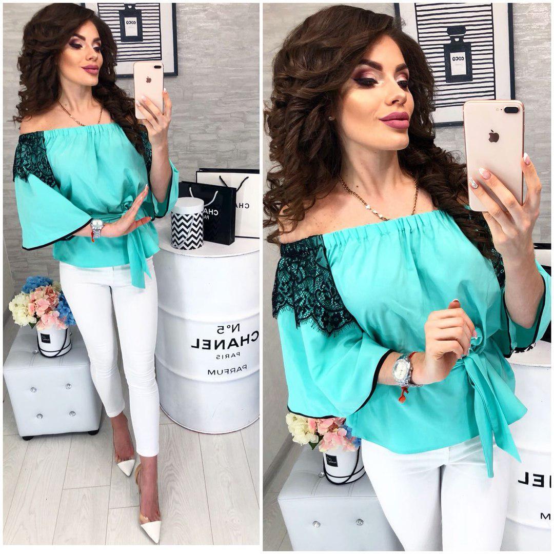 7b1ace696c7 Женская блуза под пояс с кружевными вставками  продажа