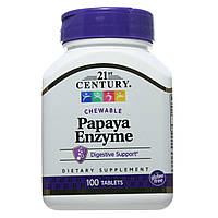 Ферменты папайи, 21st Century Health Care, 100 жевательных таблеток