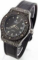 Женские классические часы (антрацитовый корпус, черный ремешок)