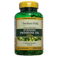 Масло примулы, Evening Primrose Oil 1000 mg with GLA, Puritan's Pride, 120 капсул