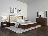 Кровать деревянная двуспальная Регина Люкс Ромб с мягким изголовьем