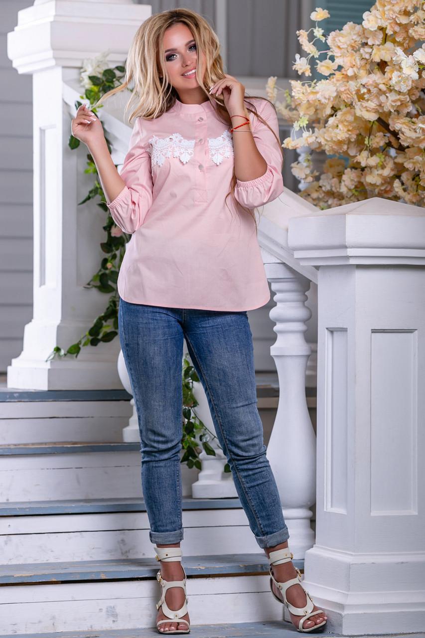 Красивая женская рубашка 2656 персик