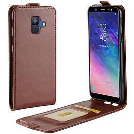 Чехол книжка для Samsung Galaxy A6 2018 A600 вертикальный флип, Гладкая кожа, коричневый