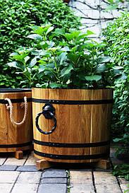 Деревянная кадка для цветов Seven Seasons™ с коваными ручками, 32 литра (WT-1829)