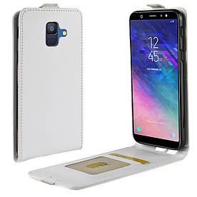 Чехол книжка для Samsung Galaxy A6 2018 A600 вертикальный флип, Гладкая кожа, белый