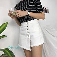Юбка шорты джинсовые женские белые