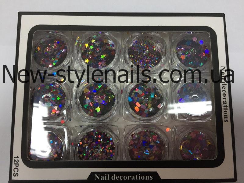 Набор для дизайна ногтей фигурки(цветные),12 шт в упаковке