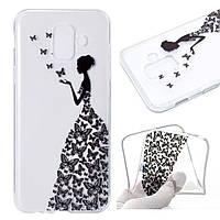 Чехол накладка для Samsung Galaxy A6 2018 A600 силиконовый, Девушка в платье из бабочек