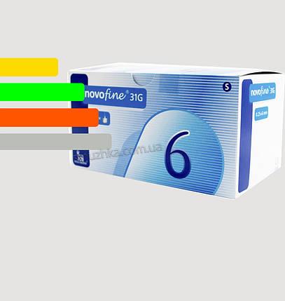 Иглы для инсулиновых шприц-ручек Новофайн 6 мм - Novofine 31G, #100, фото 2
