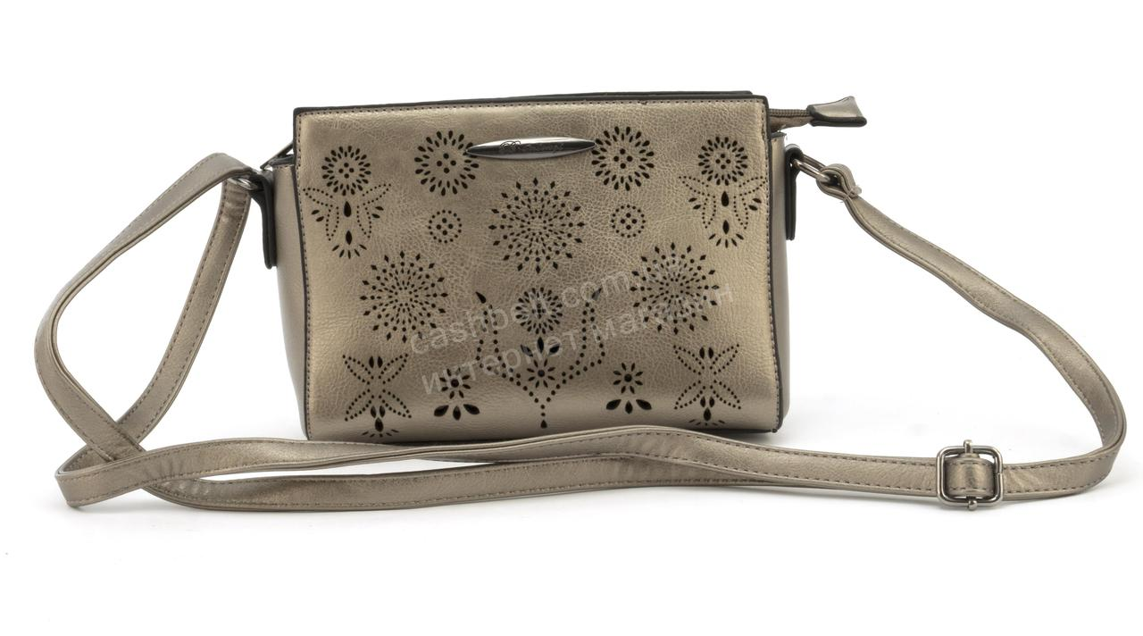 Стильная небольшая перфорированная сумочка art. 2313 бронзовая, фото 1