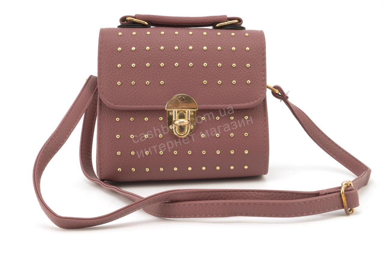 Стильная небольшая каркасная сумочка в заклепках art. 918 коралловая, фото 1