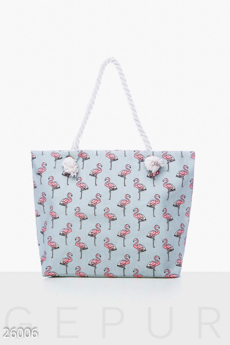 60048fc91878 Пляжная Сумка Gepur Essential Фламинго Холщовая, Летняя Сумка — в Категории