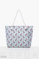 Пляжная сумка Gepur Essential Фламинго холщовая, летняя сумка