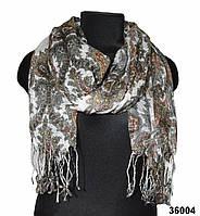 Белый льняной шарф с турецким орнаментом, фото 1